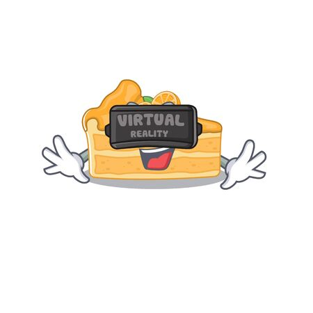 A picture of cheesecake orange character with Virtual reality headset. Vector illustration
