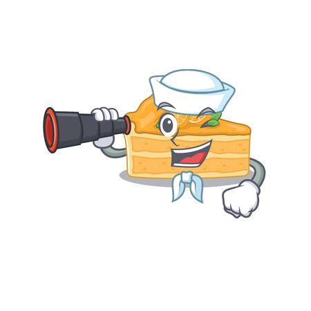 cheesecake orange in Sailor cartoon character design with binocular. Vector illustration