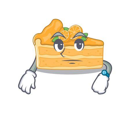 Cheesecake orange on waiting gesture mascot design style. Vector illustration Ilustração