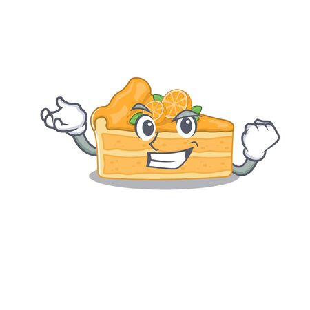 Cheesecake orange cartoon character style with happy face. Vector illustration