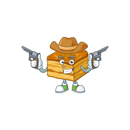 Cool cowboy cartoon design of baklava holding guns