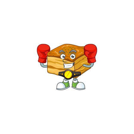 A sporty boxing of baklava mascot design style  イラスト・ベクター素材