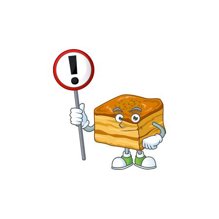 Smiling cartoon design of baklava with a sign