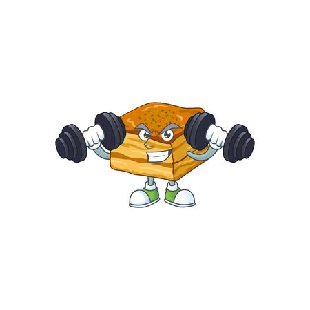 Mascot design of grinning Fitness exercise baklava lift up barbells  イラスト・ベクター素材