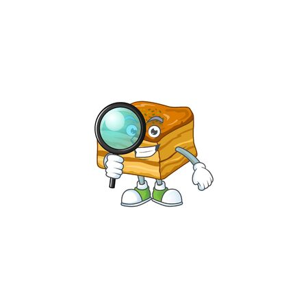 Cool and Smart baklava Detective mascot design style