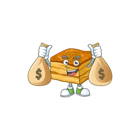 Happy rich baklava mascot design carries money bags