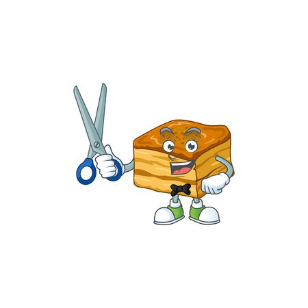 Cool Barber baklava cartoon mascot design style