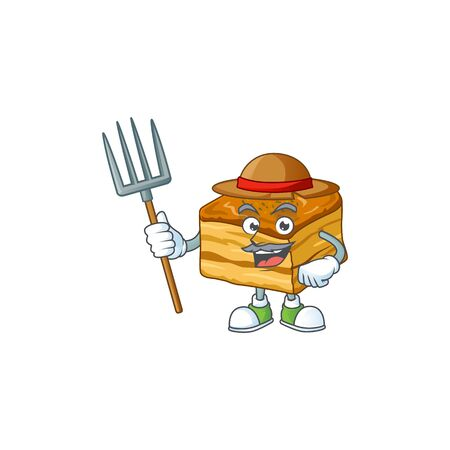 Baklava in Farmer mascot design with hat and pitchfork