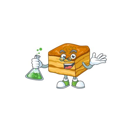 Baklava brainy Professor Cartoon design grasp a glass tube  イラスト・ベクター素材