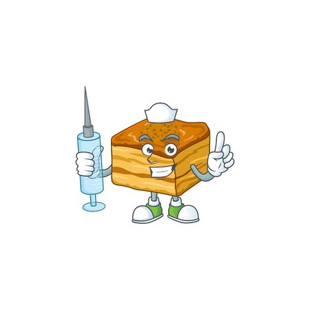 A pleasant nurse of baklava mascot design style using syringe