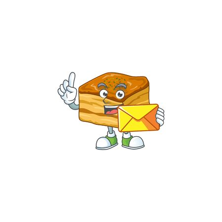 Cute face baklava mascot design holding an envelope