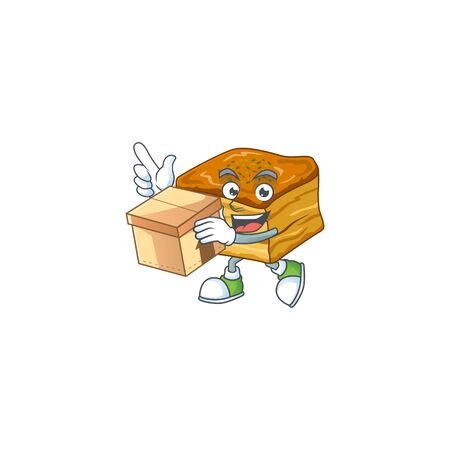 An icon of baklava mascot design style with a box  イラスト・ベクター素材