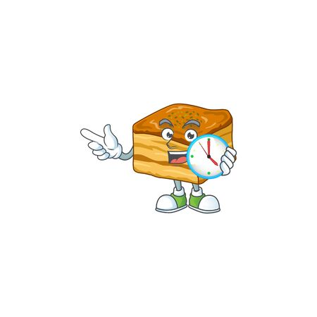 cartoon character style of cheerful baklava with clock  イラスト・ベクター素材