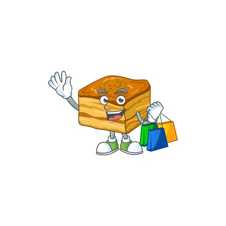 Smiley rich baklava mascot design with Shopping bag