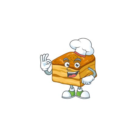 A picture of baklava cartoon character wearing white chef hat