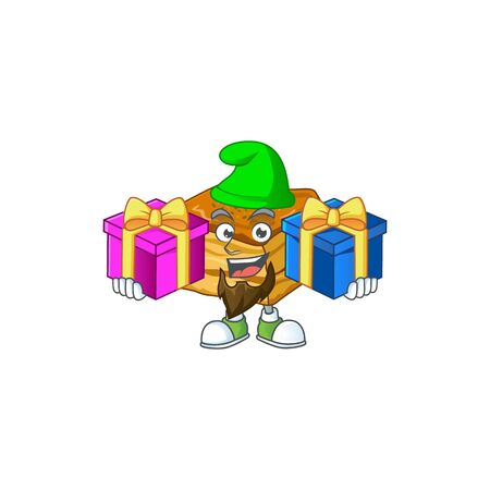 Funny face cartoon design of baklava with tongue out Ilustración de vector
