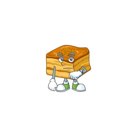 A cartoon icon of baklava with waiting gesture