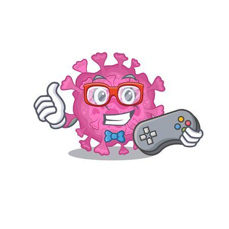 Cool gamer of corona virus organic mascot design style with controller. Vector illustration
