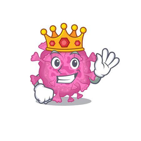 The Royal King of corona virus organic cartoon character design with crown. Vector illustration