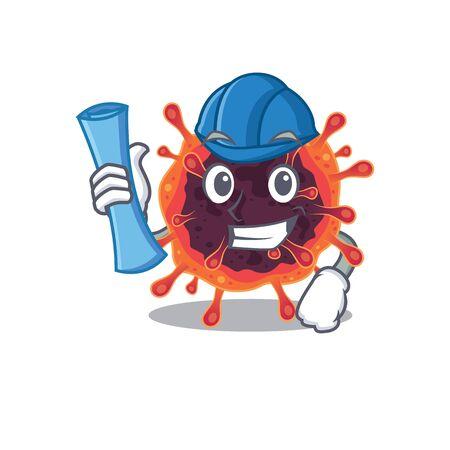 Smiling Architect of corona virus zone having blue prints and blue helmet. Vector illustration