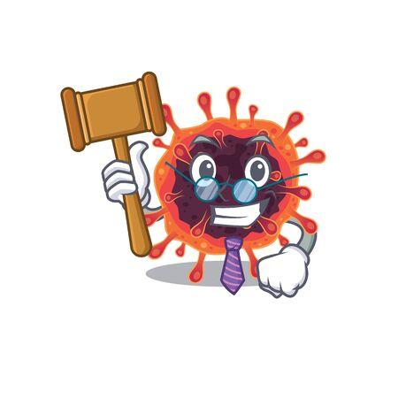 Charismatic Judge corona virus zone cartoon character design wearing cute glasses. Vector illustration
