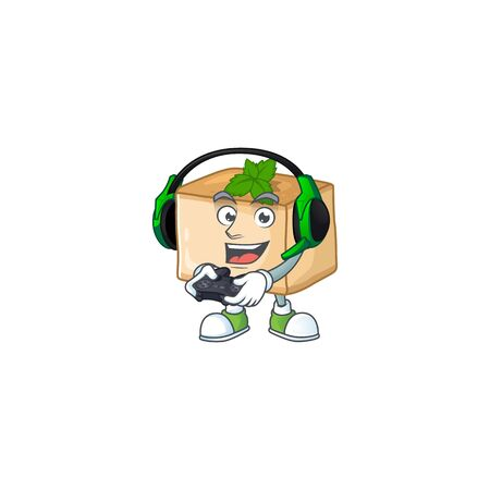 An adorable basbousa in Sailor cartoon character with white hat. Vector illustration