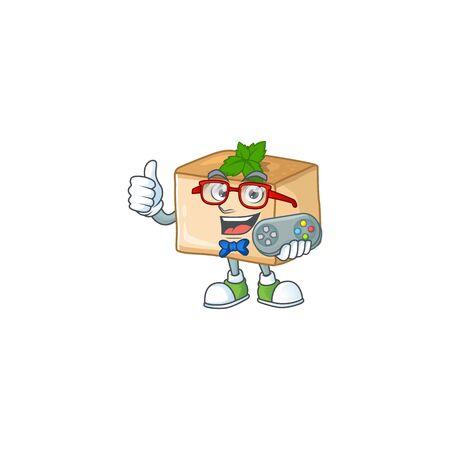 Talented basbousa gamer mascot design using controller. Vector illustration