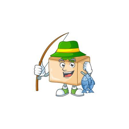 Cartoon character style of funny Fishing basbousa. Vector illustration