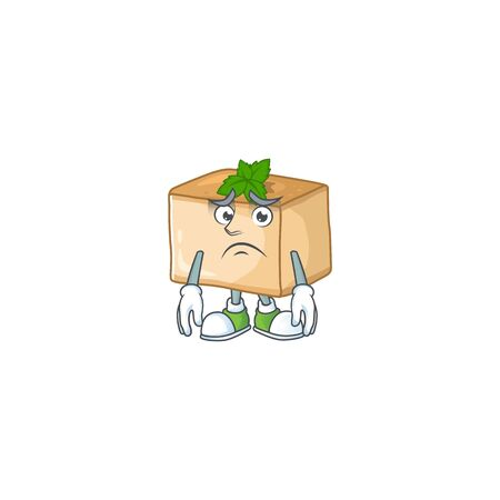 Basbousa mascot design style with worried face. Vector illustration