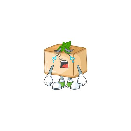 A Crying face of basbousa cartoon character design. Vector illustration