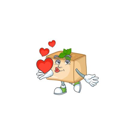 A romantic cartoon character of basbousa with a heart. Vector illustration Ilustracja