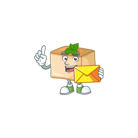 Cute face basbousa mascot design holding an envelope. Vector illustration
