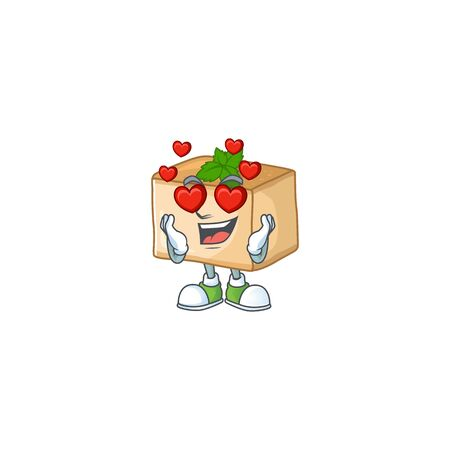 Romantic basbousa cartoon character with a falling in love face. Vector illustration