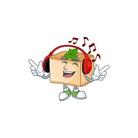 cartoon mascot design of basbousa enjoying music. Vector illustration