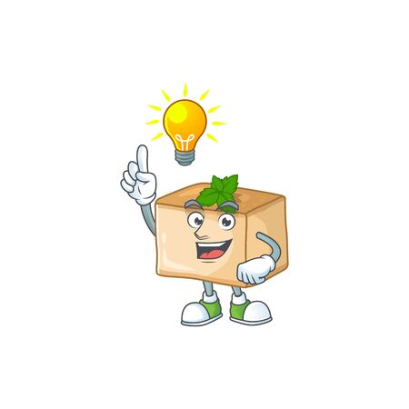 Basbousa mascot character design with have an idea cute gesture. Vector illustration Illustration
