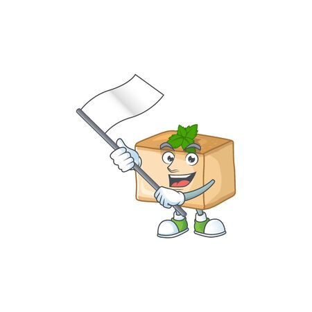 A patriotic basbousa mascot character design holding standing flag. Vector illustration