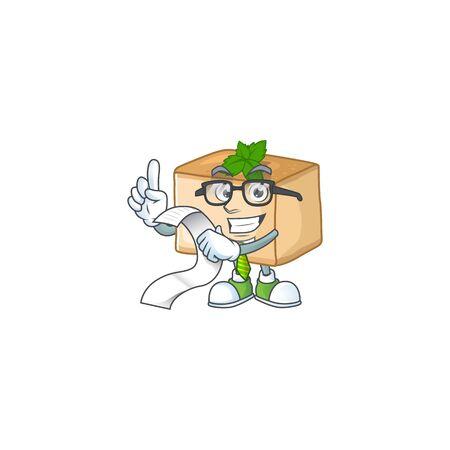 cartoon character of basbousa holding menu on his hand. Vector illustration