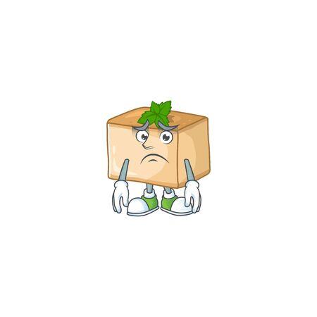 Basbousa mascot design style with worried face. Vector illustration Ilustracja