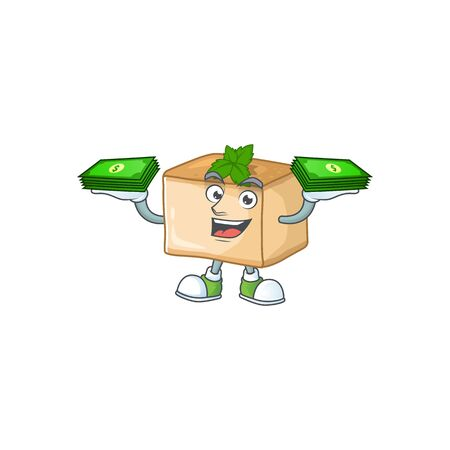 happy rich basbousa character with money on hands. Vector illustration Ilustração