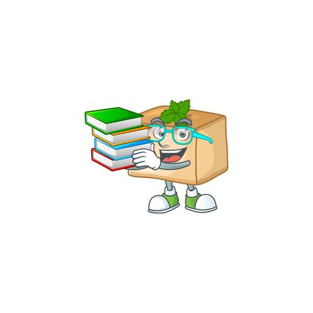 A hard-working student in basbousa cartoon design with book. Vector illustration