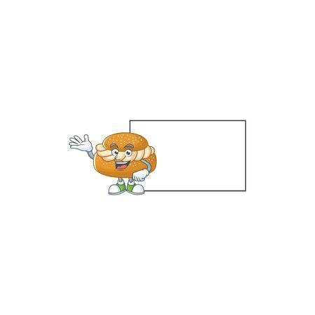 Semla with board cartoon mascot design style. Vector illustration