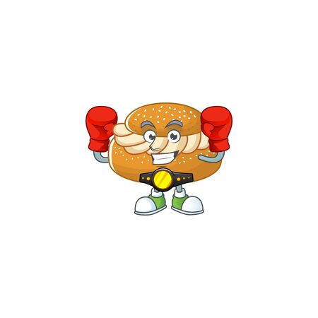 A sporty boxing of semla mascot design style. Vector illustration