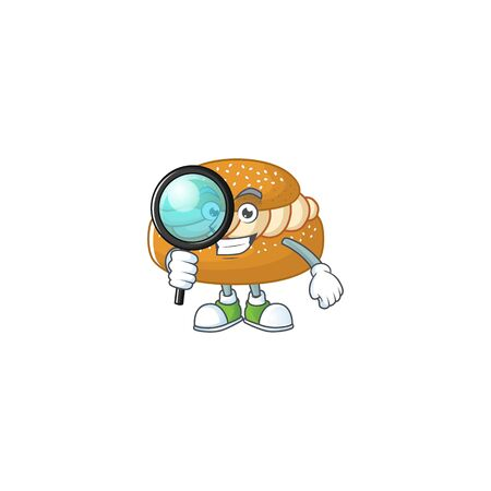 Cool and Smart semla Detective mascot design style. Vector illustration