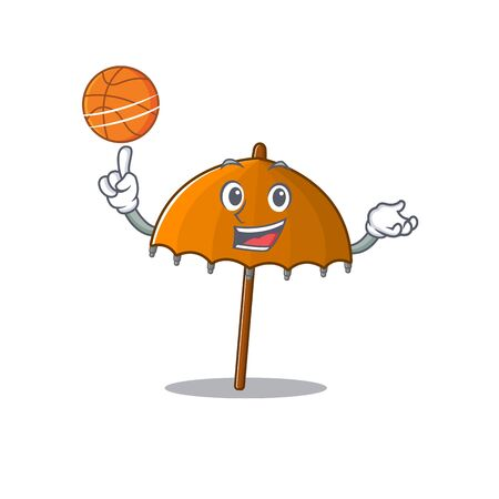 A sporty orange umbrella cartoon mascot design playing basketball. Vector illustration