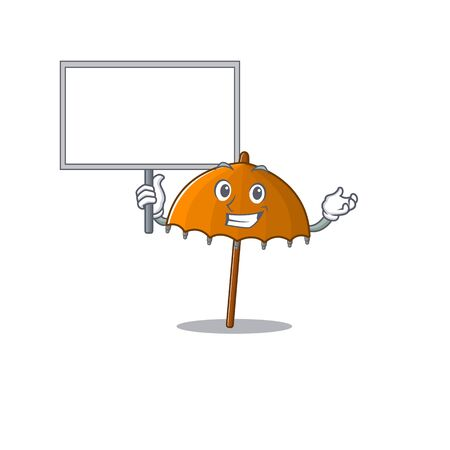 Orange umbrella cute cartoon character bring a board. Vector illustration Ilustração