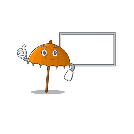 cute orange umbrella cartoon character Thumbs up bring a white board. Vector illustration