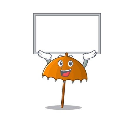 Happy cartoon character of orange umbrella raised up board. Vector illustration