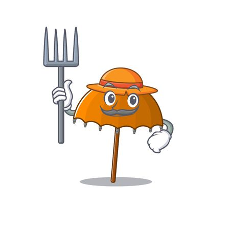 Orange umbrella in Farmer cartoon character with hat and pitchfork. Vector illustration