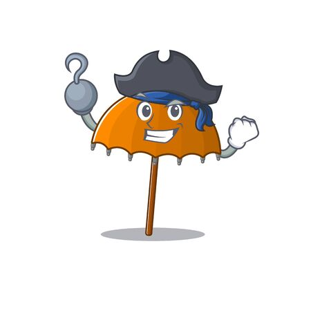 Cool orange umbrella in one hand Pirate cartoon design style with hat. Vector illustration