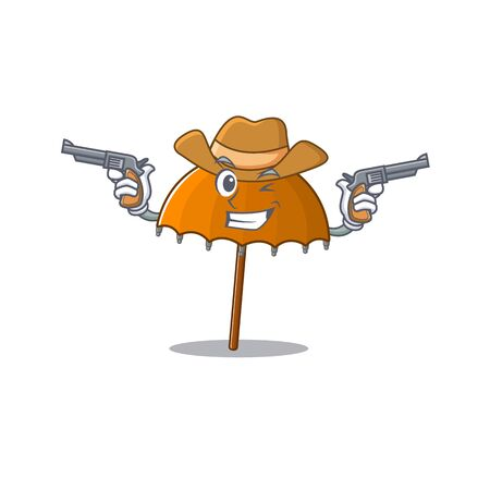 Funny orange umbrella as a cowboy cartoon character holding guns. Vector illustration Ilustração